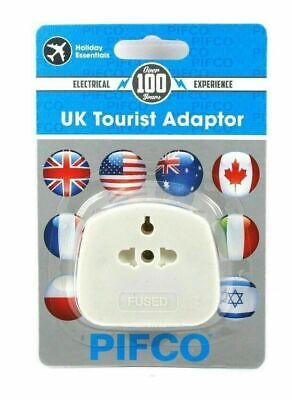 1X UK Universal Pifco USA/AUS/CHINA/EU To  3 Pin Tourist Travel Adapter Plug