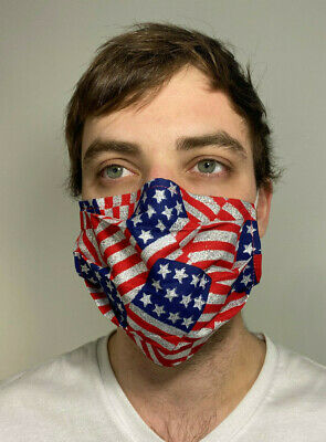 American Flag Cotton Face Mask Handmade Washable Reusable wire nose Reuse