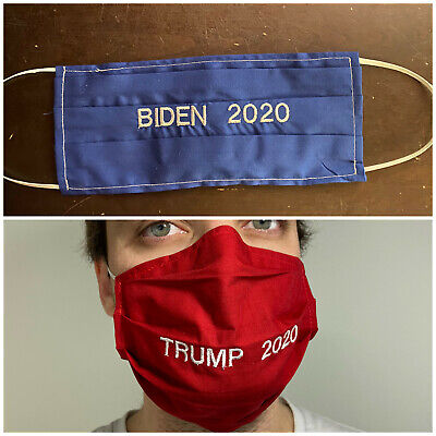 Trump Biden 2020 Election Face Mask Embroidered Custom Washable Reuse Nose Wire
