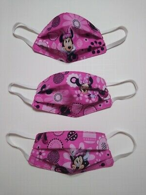 KID'S SIZE MINNIE MOUSE PINK 3 Layer Cotton Fabric Child's Face Covering Mask