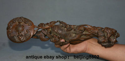 """15.2"""" Old Old Chinese Boxwood Wood Carved Feng Shui Bat Ruyi Ru Yi Lucky Statue"""
