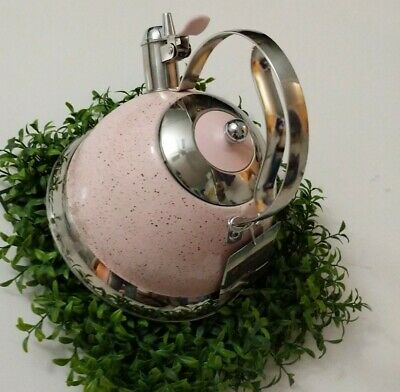 Masterclass Kettle  Retro Style Whistling Pink Speckled Enamel  Stainless Steel