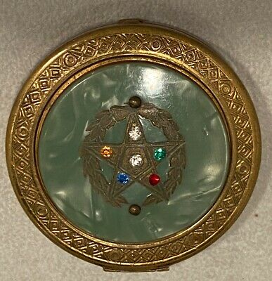 Antique Gold Round Make Up/Powder Compact  - With Rhinestones And Green Inlay