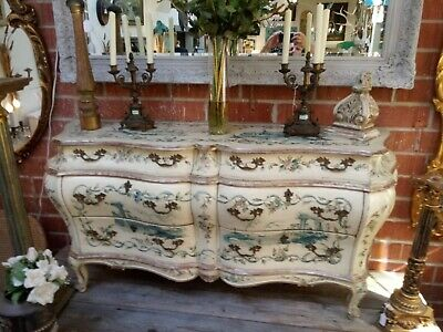 Exquisite Vintage Hand Painted Chinoiserie Italian Double Bombe 6 Drawer Chest