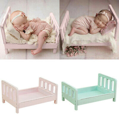 Mini Wood Newborn Baby Bed Detachable Wooden Photography Photo Props Pink Blue