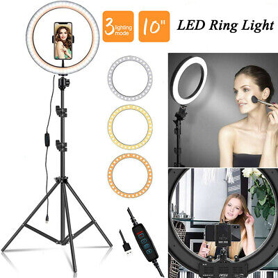"10"" LED Ring Light Studio Video Selfie Makeup Live Lamp Phone Holder Tripod Kits"