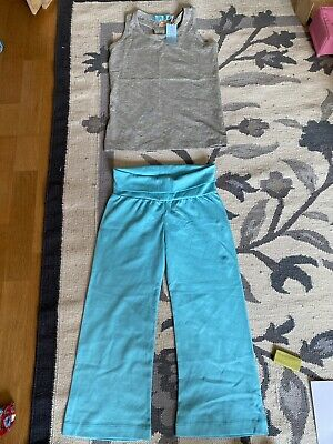 Girls Fitness Leggings Yoga Gym Trousers top set Workout suit age 6-7 Gray Blue