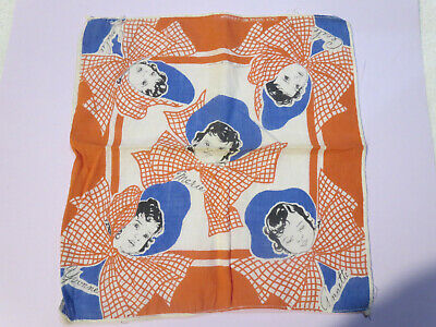 1930s Dionne Quintumplets W Bonnets and Bows Red White Blue Hanky