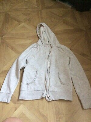 Cream Coloured Girls Zip Up Hoodie Age 9-10