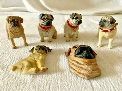 Miniature Animal Pug Dog Figurine Resin Hand Painted Statue Collectible Gift