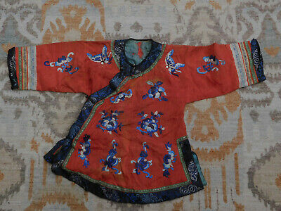 Vintage Antique Chinese Robe Embroidered Child's Robe metal bottons