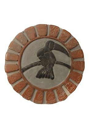 Toucan Parrot Bird 7 Inch Resin Tile Plaque w Hieroglyphics