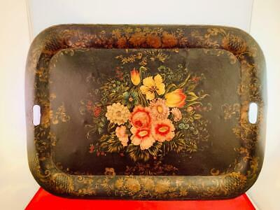 Antique Hand Painted Decorative Floral Tole Tray Black Gold Rose Colored Accents