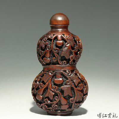 Collectable China Old Boxwood Hand Carve Cucurbit Delicate Precious Snuff Bottle
