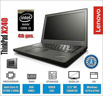 Lenovo Thinkpad X240 Laptop Core i5 1.70GHz 8GB RAM 180GB SSD Webcam Warranty