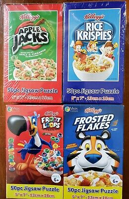 "Kellogg's Cereal Boxes 50 Piece 5"" X 7"" Mini Puzzles Lot of 4, New"