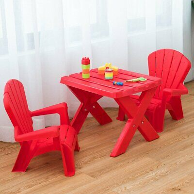 3-Piece Plastic Children Play Table Chair Set