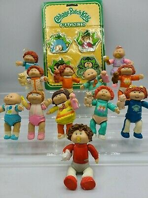 BIG LOT of 12 Cabbage Patch Kids Posable Figurines, plus Magnets 1984