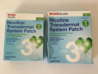 2 CVS Health Nicotine Transdermal System Patch 14 Patches 7mg Step 3 EXP 05/20