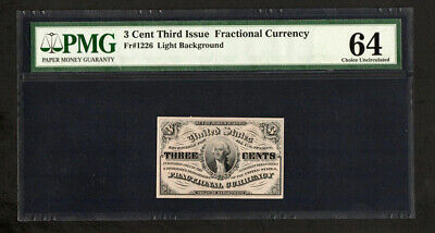 FR 1226 - 3 Cent 3rd Issue Fractional Currency - PMG 64 Choice Unc (A75)