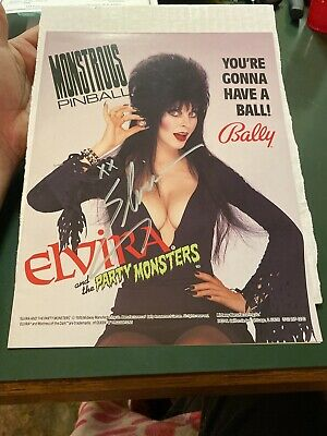 """ELVIRA HAND-SIGNED ORIGINAL 1989 """"PARTY MONSTERS"""" PINBALL ADVERTISING With COA"""