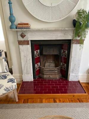 Beautiful Fireplace Mantle-piece (marble), Tiles and Cast Iron Insert