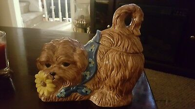 Eliza Jane Maltese Dog Cookie Jar QVC VTG! Puppy Brown Ceramic Kitchen Decor