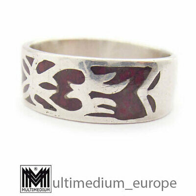 Navaho Navajo Indianer Band Ring Silber rot Emaille silver red enamel