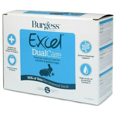 BURGESS  EXCEL DUALCARE 60g Sachets - Critical Care for Rabbits/Guinea Pigs