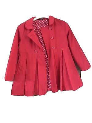 George 8-9 Girls Red Spring Coat Rain Mac VGC Cute
