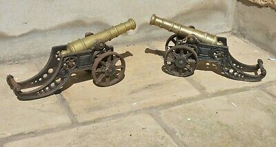 Pair Of Antique Brass & Cast Iron Cannons. Architectural,Doorstep,Fireside.