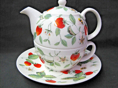 ALPINE STRAWBERRY TEA FOR ONE, by ROY KIRKHAM, Fine Bone China, Made in England.