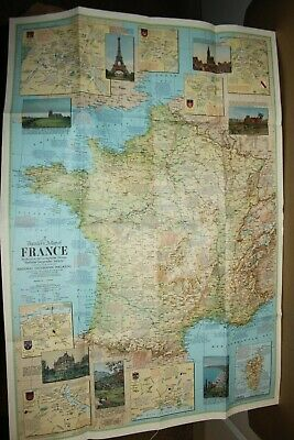 Vintage NATIONAL GEOGRAPHIC MAPS - TRAVELLER'S MAP of FRANCE - 1971