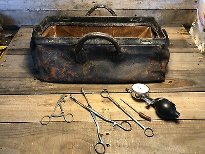 VTG leather doctor's bag satchel surgical cowhide leather metal 1800s W/ Tools