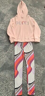 Emilio Pucci Girls Outfit Pink Hoodie & Multicoloured Leggings Age 10 Years VGC
