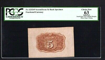 FR 1232SP Second Issue 5 Cent Fractional Currency Back Specimen PCGS 63 CH NEW