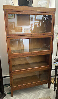 4 Piece BARRISTER BOOKCASE wood antique bookshelf lawyer stacking SHAW WALKER
