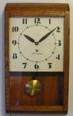 1949 Seth Thomas 8 Day Time Only School Wall Clock Runs Well