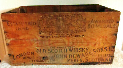 John Dewar & Sons Old Scotch Whiskey Wooden Shipping Crate