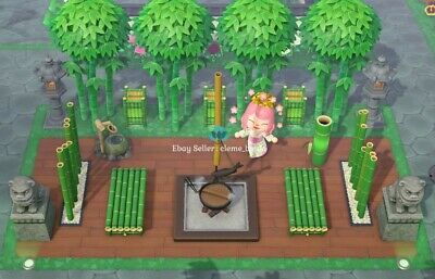 Outdoor Bamboo Square Set (20items)Stone Furniture -Animal Crossing New Horizons
