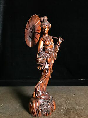 Collectable China Old Boxwood Hand-Carve Elegant Pick Flower Belle Decor Statue