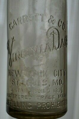 Antique Garrett & Co Virginia Dare Prohibition Glass Bottle