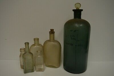 Vintage Bottle Lot - 6 Glass Bottles - Thomas Edison Bottles and More