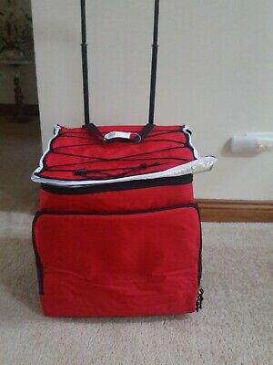 Heavy duty thick insulated roller bag zippered to w/ front zippered pocket RED