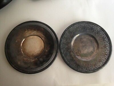 """2 Benedict 10"""" Serving Plate Silverplated Brass Cookie/Cake Pierced Round Dish"""