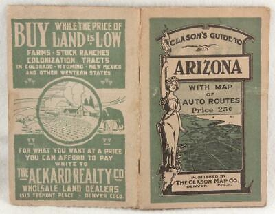 """Clason's """"Green Book"""" Guide to ARIZONA with Map of Auto Routes 1916 16 X 20 Map"""