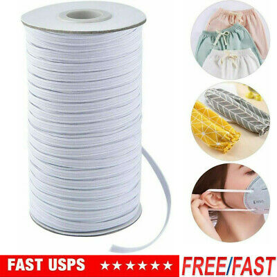 """125 yards 1/4"""" Thin Elastic For Face Mask 1/4 inch elastic cord band for sewing"""