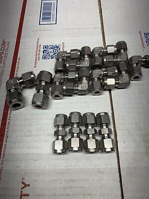 New Lot (15) Of SSP 316 Stainless Steel Tubing Fittings Swagelok Interchangeable