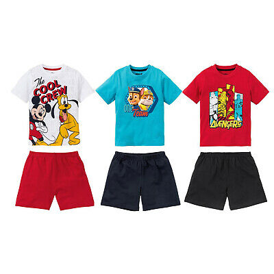 Kids Boys Girls Official Character PJs Pyjamas Set Shorts Avengers Paw Patrol