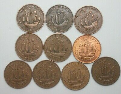 10 x OLD ENGLISH HALF PENNY COINS - DIFFERENT DATES George V1 & QE 11- £1.95